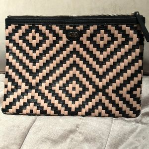 Cole Haan basket weave pink and black pouch